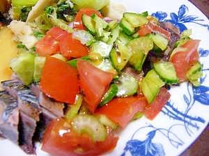 野菜と食べるカツオのたたき