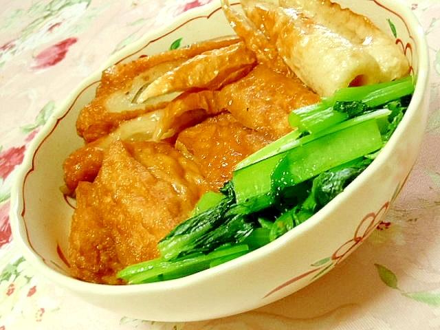 厚揚げ&竹輪&牛蒡天&小松菜の煮物