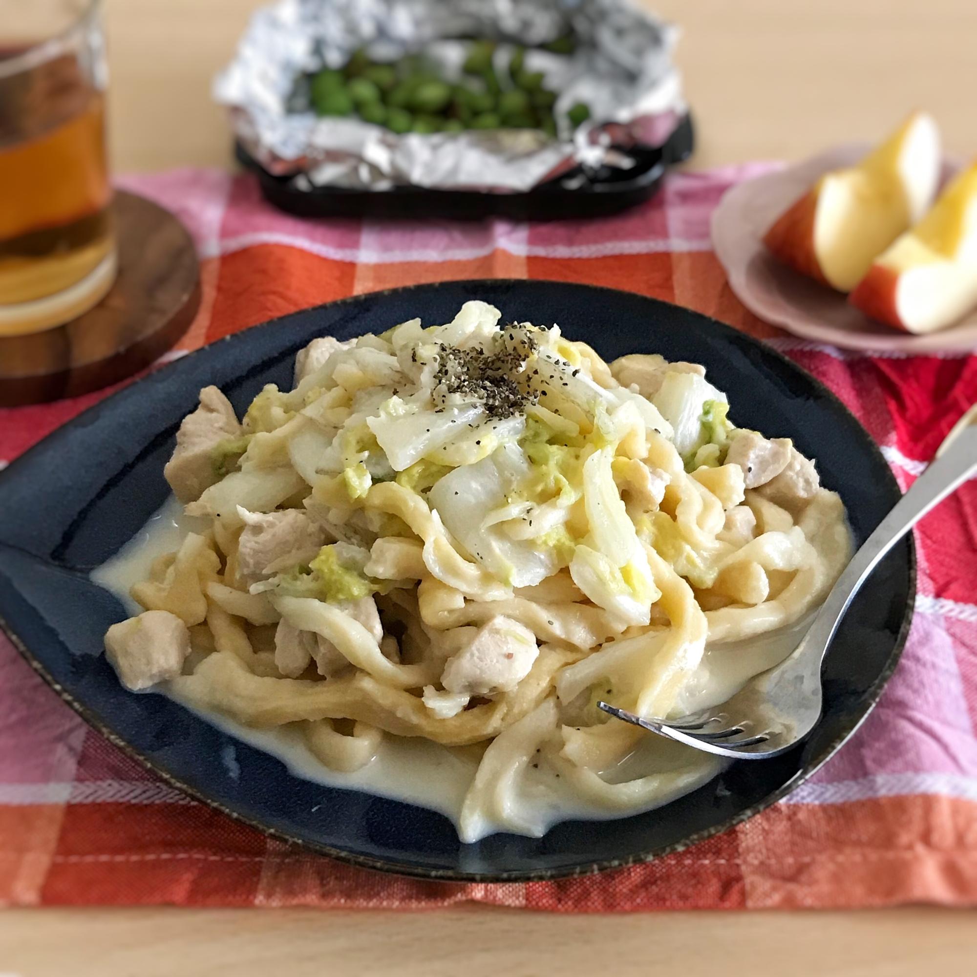 5. 鶏肉と白菜の味噌チーズクリームパスタ