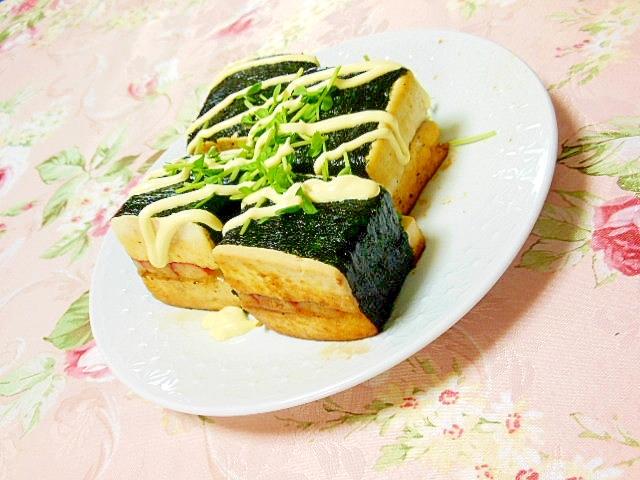 豆腐とチーズとカニかまの海苔巻きサンド