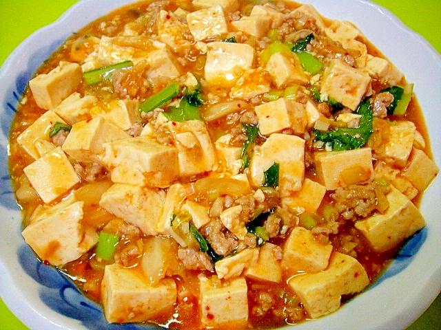 マーボー豆腐のような豆腐とひき肉のキムチ煮