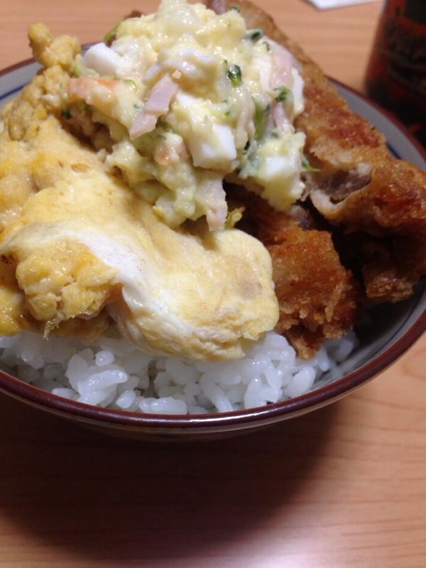 豚カツのサラダ丼(*^^*)☆