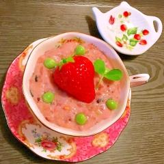 つぶつぶ苺とぷちぷち雑穀の春めくぷるぷるフルーチェ