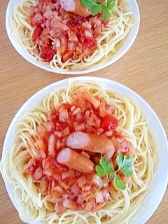 3/23の昼食☆トマトソースパスタ