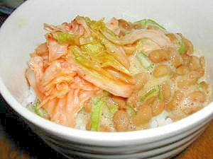めんつゆでヘルシーネギと納豆キムチ丼☆