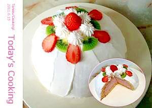 ドーム形のヨーグルトムースケーキです。FP使用!