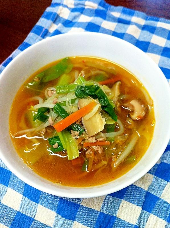 具沢山ピリ辛春雨スープ