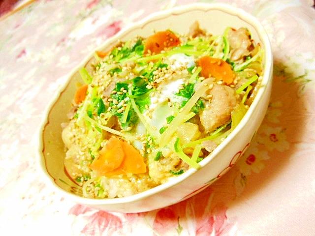 リメイク豚生姜焼き&豆苗&人参の卵とじどーん