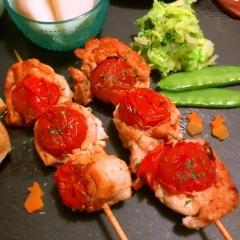 トマトとカマンベールチーズの鶏ささ身焼串