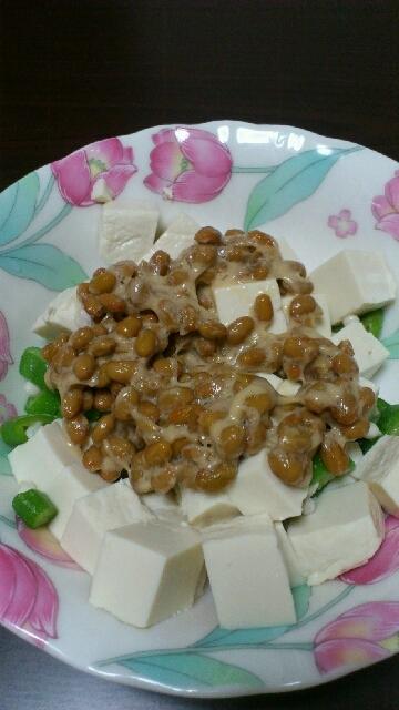 ダイエットに。豆腐と納豆和え