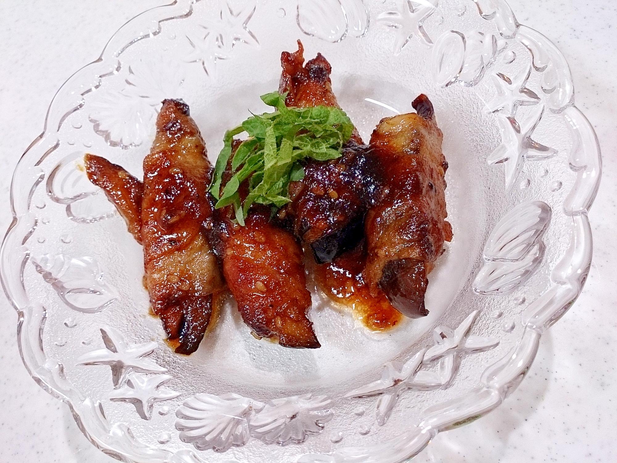 豚バラ2枚で作るナス巻き焼き副菜