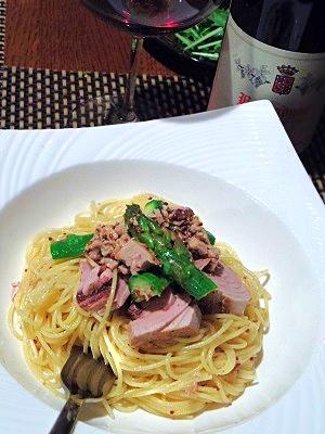 スモーク鰹の冷製スパゲッティーニ