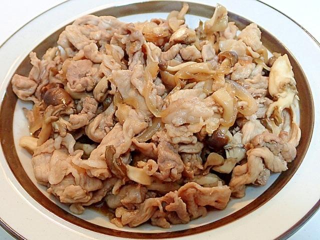 豚肉と玉葱ときのこの和風甘辛炒め