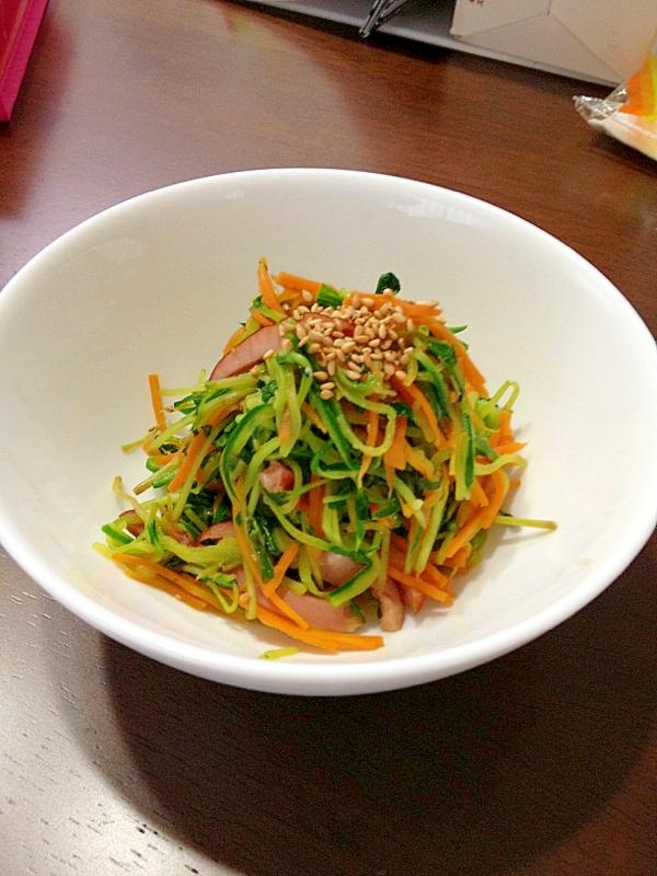豆苗と細切り野菜の炒め物