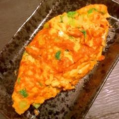 ぷちぷち蕎麦の実としゃくっと青梗菜のオムレツ