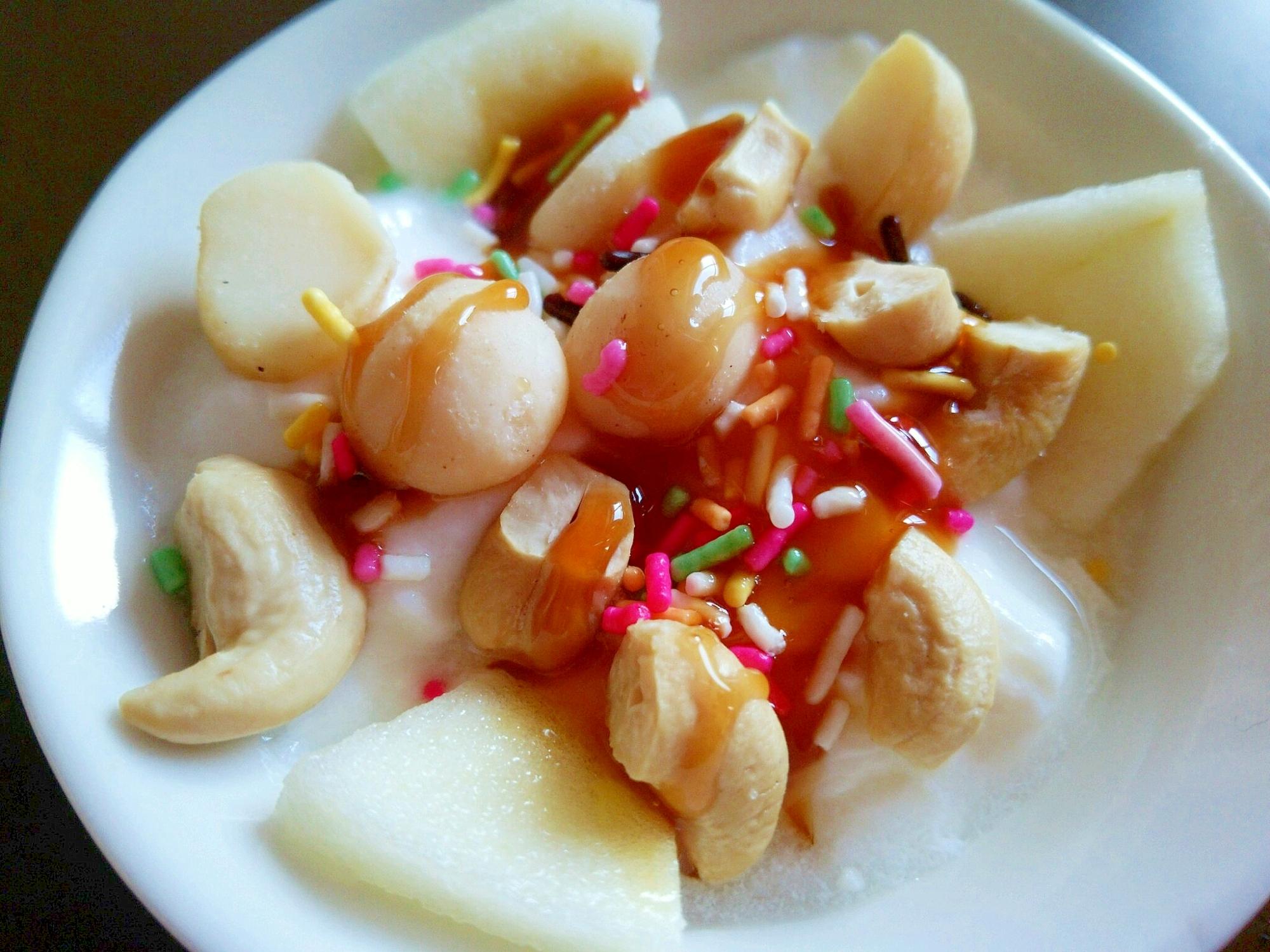 りんごとナッツのキャラメルヨーグルト