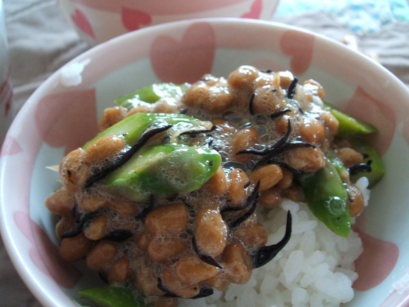 アスパラとひじきの納豆