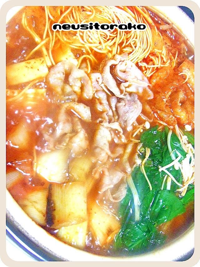 赤から鍋スープで長ネギを焼いたお鍋