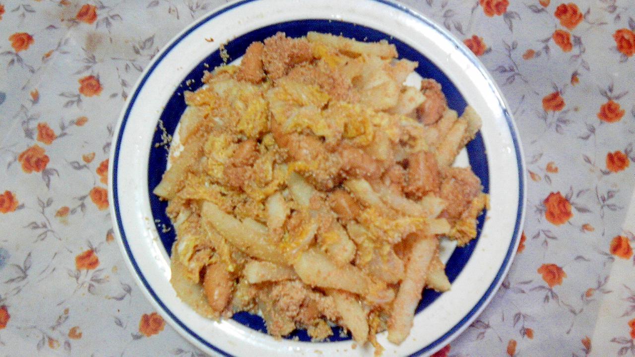 13. プチプチ食感♪ たらこ煮と白菜と大根の炒め物