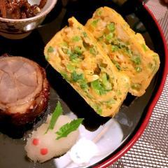 たっぷり壬生菜と豆乳のだし巻き卵