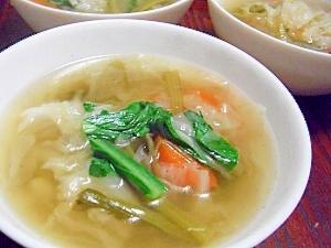 圧力鍋で♪キャベツと人参と小松菜のあっさりスープ♪