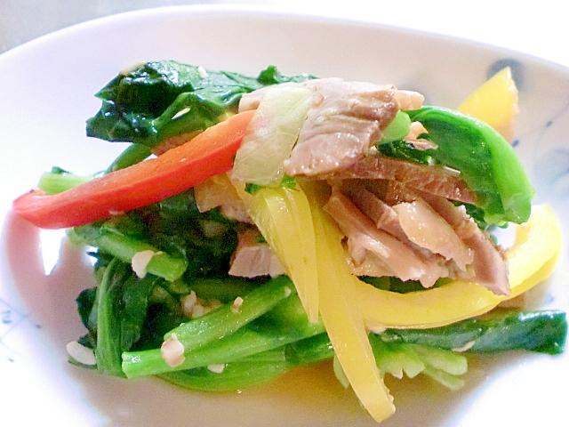 3. アスパラ菜とチャーシュー塩麹炒め