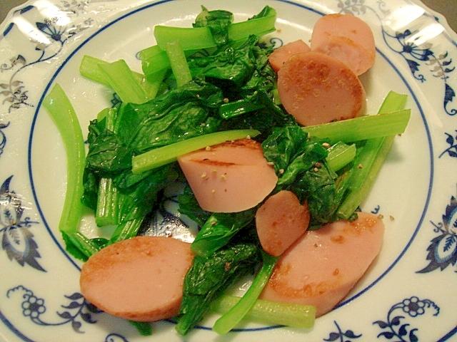 小松菜とギョニソの塩コショウ炒め
