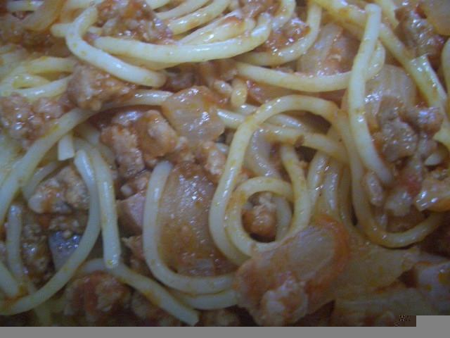 ひき肉とベーコンのトマトパスタ