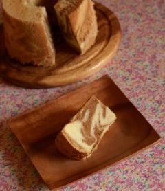 トール型で作る、コーヒーマーブルシフォンケーキー