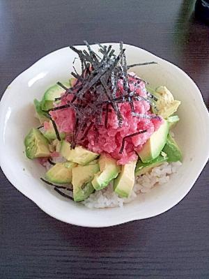 10分レシピ★マグロとアボカド丼