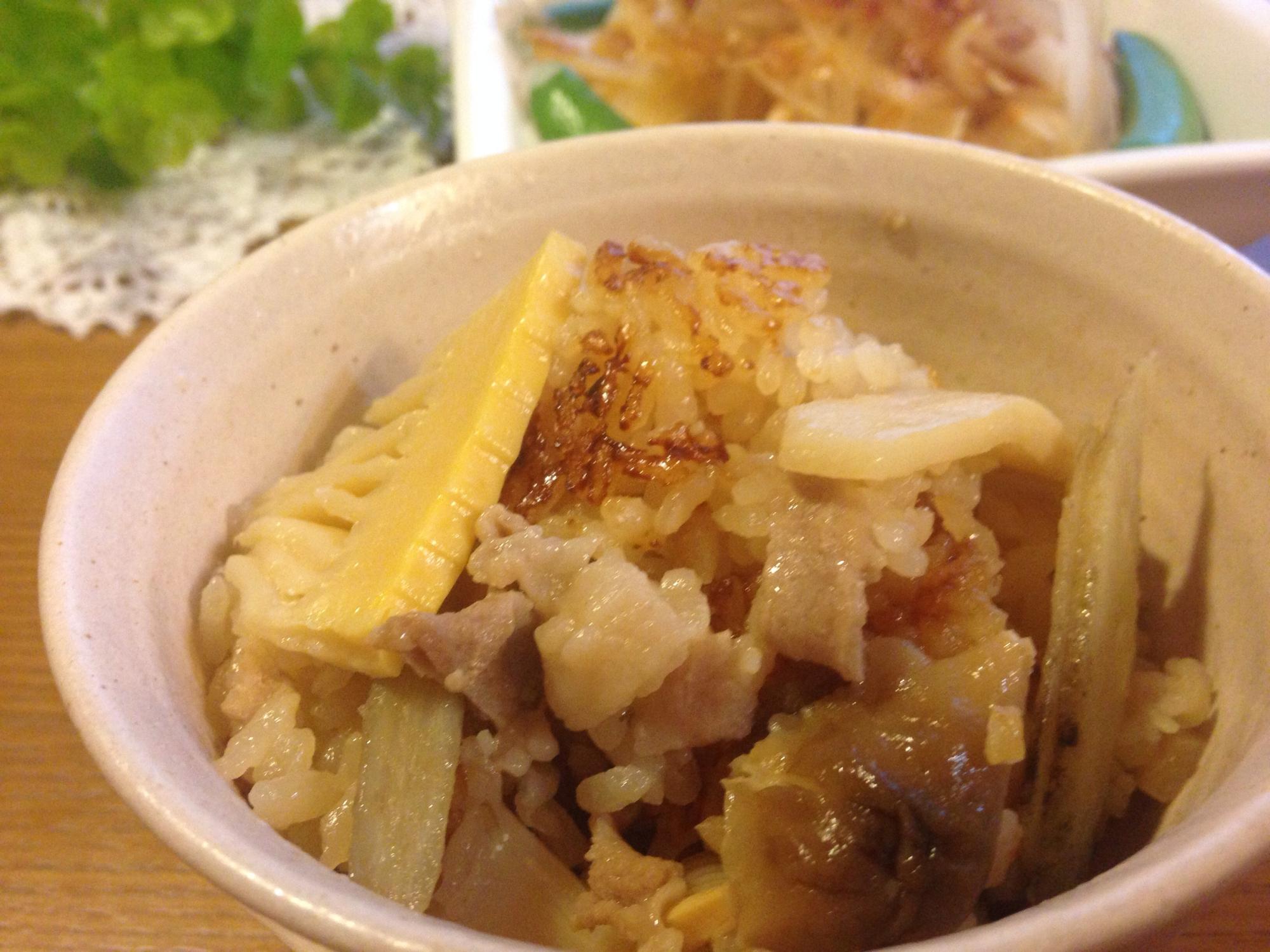 筍と豚肉の炊き込みご飯