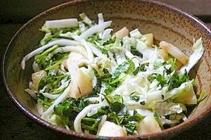 白菜の芯とクレソンのラフランスサラダ