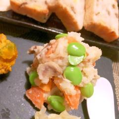 根菜と枝豆の大麦入りピリ辛柚子七味ポテトサラダ