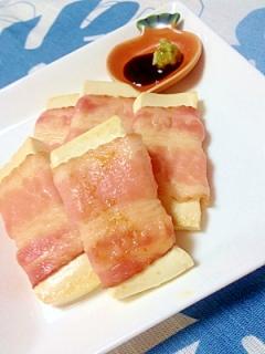 簡単!ヘルシー!わさび醬油で豆腐のベーコン巻き