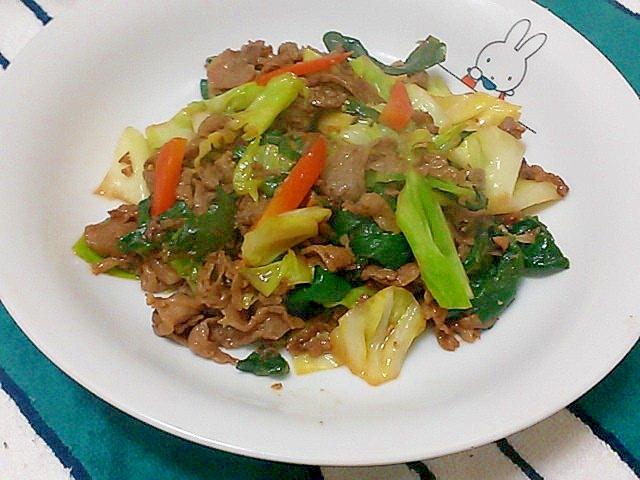 葉玉ねぎ、牛肉、人参、キャベツの味噌炒め