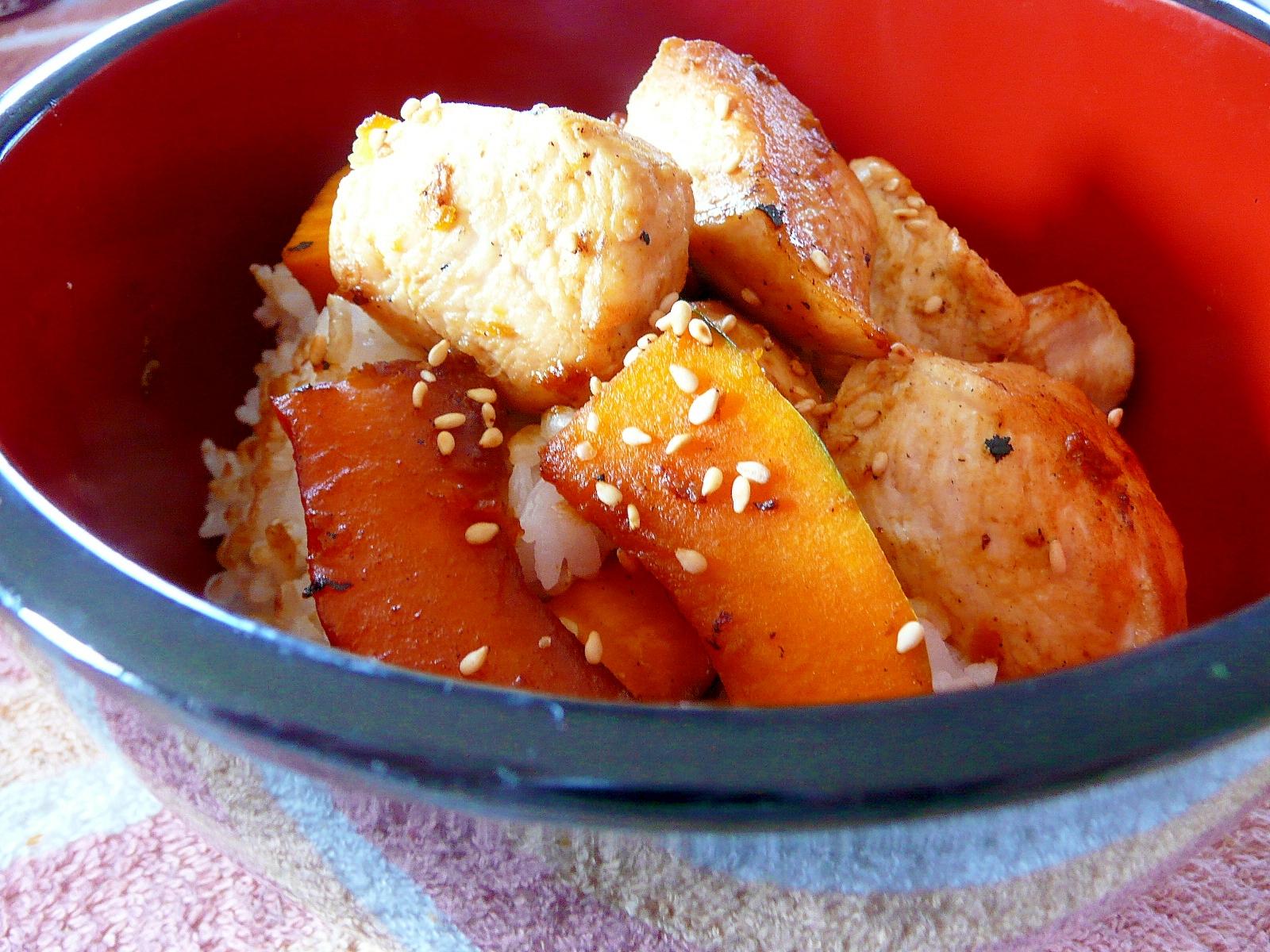 鶏とかぼちゃの照り焼き丼