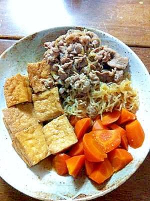 厚揚げと豚肉のすきやき風煮物