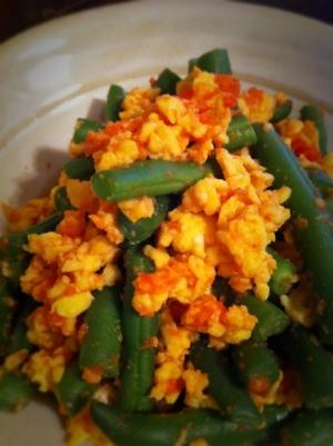 ご飯に合う副菜!インゲンと卵の明太和え