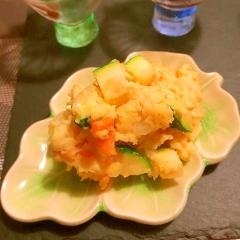 ひよこ豆とズッキーニのチーズカレーポテトサラダ