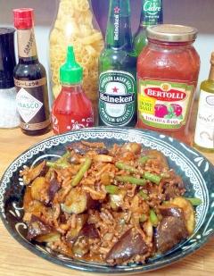 茄子といんげん、挽き肉の甜麺醤とコチュジャン炒め☆