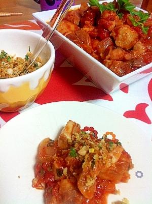 チキンのトマトソース煮クランブル添え