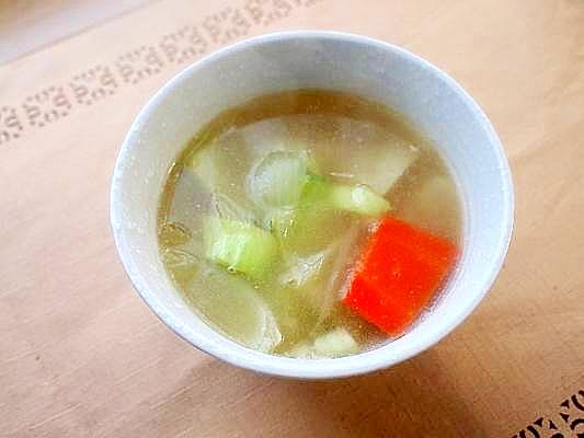圧力鍋で簡単に♪薄味の具沢山ウェイロンで中華スープ
