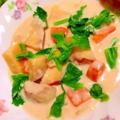 菜の花と薩摩芋の豆乳クリームチーズシチュー