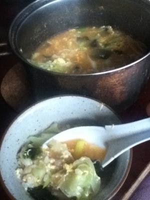 ニンニクの芽と油揚げのチゲ風味噌雑炊
