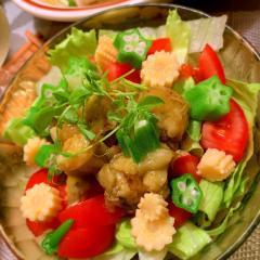 焼き茄子と夏野菜のサラダ