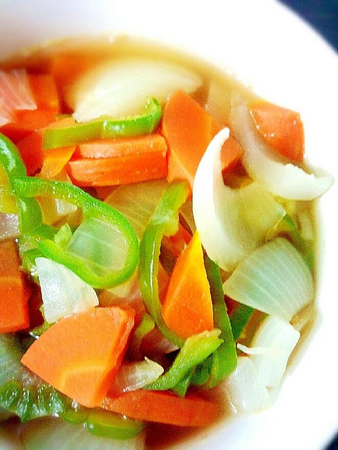 タマネギとニンジンとピーマンの彩り具沢山野菜スープ