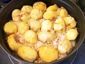 麦入り栗ご飯~胚芽米、麦、もち米で~@ストウブ