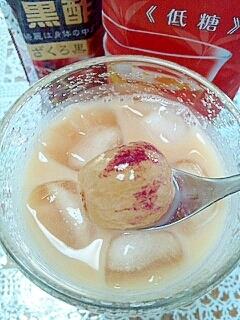 アイス☆フレッシュフルーツin黒酢ミルクティー♪