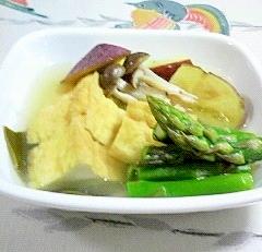 厚揚げ、さつま芋、アスパラの煮物~