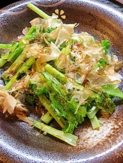 わさび菜と花かつおのゴマ油炒め